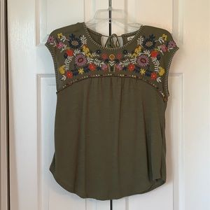 Green floral embroidered shirt